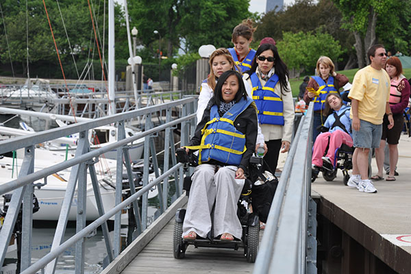 Judd Goldman Adaptive Sailing Foundation Loading on the Boat Ramp
